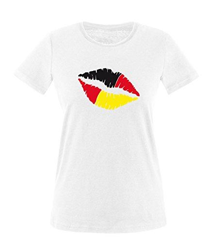Luckja EM 2016 Deutschland Kussmund Fanshirt Damen Rundhals T-Shirt Weiß/Bunt