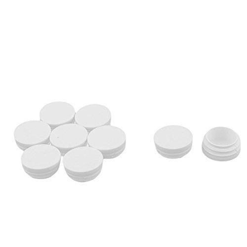 sourcingmap® 9Stk Kunststoff runde Möbelbein Tischbein Füße Schutzkappen Rohr Stopfen weiß Rohr-tischbeine