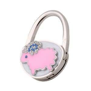 Lamb Foldable Rhinestone Bag Hanger Portable Holder Purse Hook Gift Pink