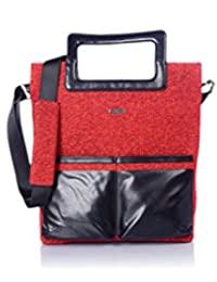 Veuza Berlin Premium Jacquard And Faux Leather Deep Red Women's Tote