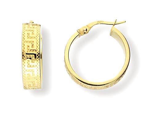 Echt 750 Gold CREOLEN, 750 Gelbgold, Mäander gemustert GOLDOHRRINGE, 18 Karat