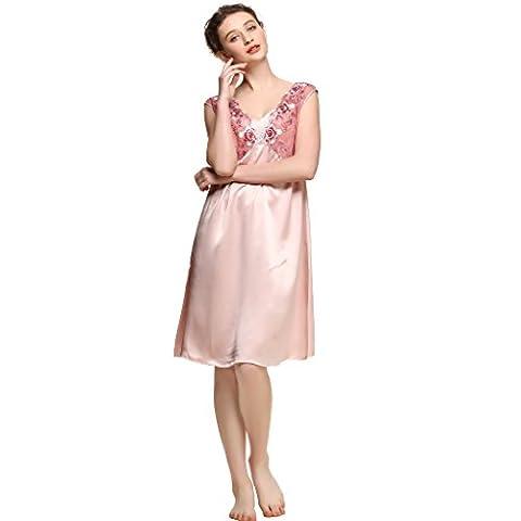 ForeverSilk Women's 19 mm Pure Silk Gorgeous Sleepwear Dress Nightgown Dusky Pink XL