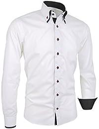 93a8ef5975c7a1 Giorgio Capone Premium Design Herrenhemd, 100% Baumwolle, Weiß, Button-Down  Doppelkragen