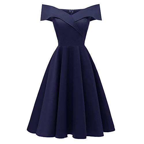 Damen Elegant Kleid V-Ausschnitt Schulterfrei Ärmellos Prinzessin Kleid Vintage Cocktailkleid Einfarbig Partykleider Abendkleider Swing-Kleid Langes Ballkleider