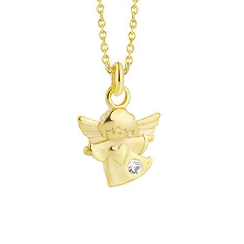 fish Mädchen 333er Goldkette Gold 333 KLEINER Schutz-Engel mit Swarovski Elements Klar Längen-verstellbar Geschenkbox Geschenke zur Kommunion