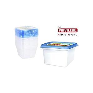 Privilege- Set 9 Semidesechables Cuadrado, 550 ml, Multicolor (49792)