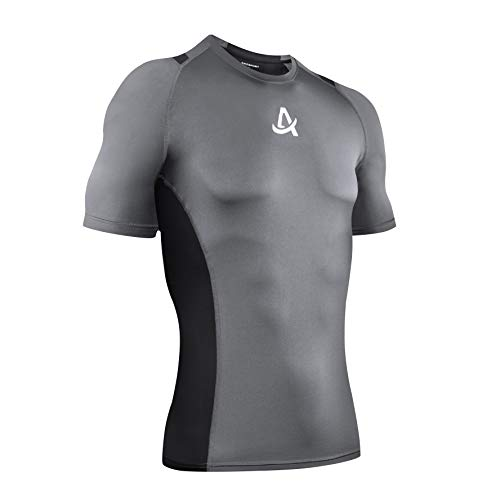 AMZSPORT T Shirt da Uomo Manica Corta Sports Compression Shirt da Running Asciugatura Rapida