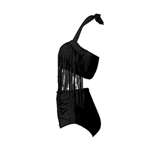 Perfashion Frauen Groß Größe High Waist Bademode Franse Troddel Bikini Badeanzug Schwarz