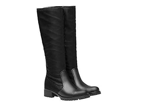 Prada Stiefel Knie hoch Biker in schwarzem Leder und Stoff - Modellnummer: 3W6110 1O4R F0002 - Größe: 36 IT / 36 (Prada Stoff)