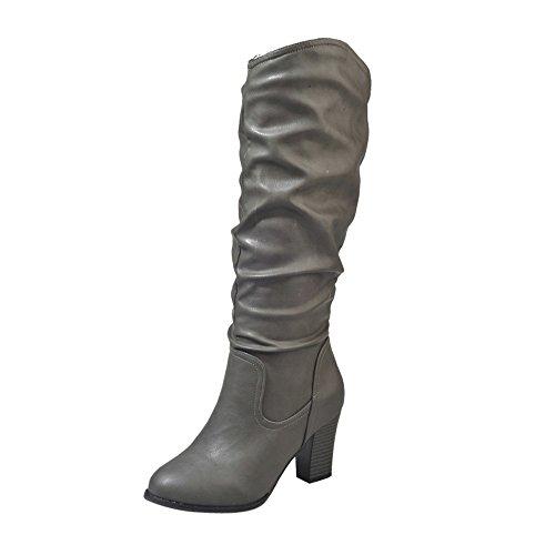 Stiefel Damen Boots Leder Boots Frauen Winter Plüsch Stiefel High Heel Combat Boots Wild Outdoor Freizeitschuhe Party Mittel Stiefeletten ABsoar - Damen Western-stiefel Breite Breite