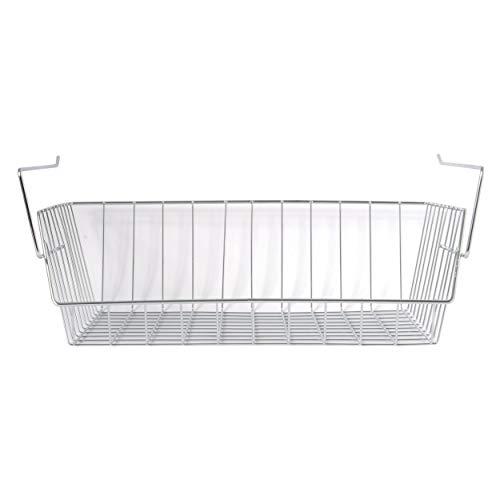 MSV Hängekorb aus Metall - 40x27x14cm - Silber - Aufbewahrungs-Korb für Küchenschränke Kleiderschränke Regale Unterbauschrank Unterbau-Regal