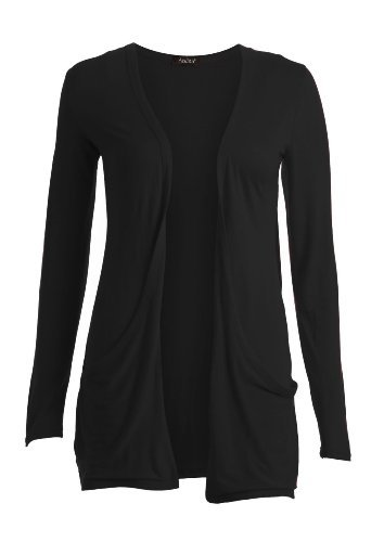 Damen Frauen Langärmelige Taschen Jacke Jäckchen - Schwarz, S (EU 36-38)