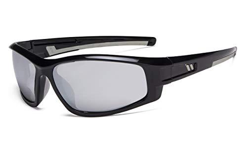 Eyekepper Bifokal Sonnenbrille für Sport TR90 Draussen Sonnenscheinleser (Schwarz Rahmen-Silber Spiegel Linse,+2.00)