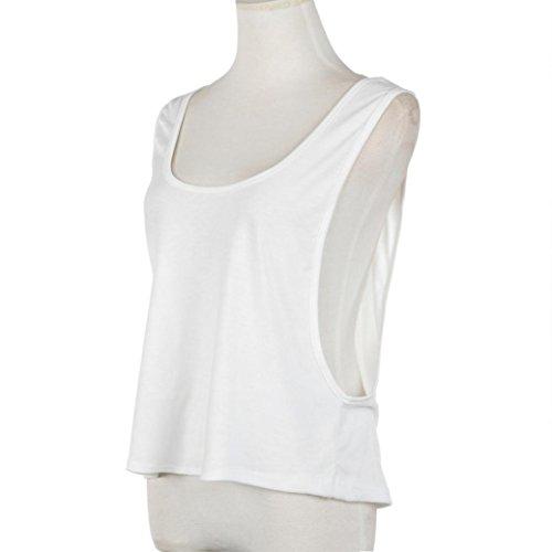 Top des femmes,Tonwalk Veste décontractée Dos nu Bandage Tank Loose Tees Blanc