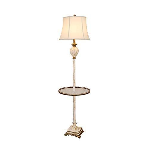 Xiaoli Stehlampe Harz Stehleuchte Stoff Lampenschirm Stehleuchte Nordic mit Couchtisch aus Glas Stehleuchte Schlafzimmer Wohnzimmer Bedside Stehleuchte (Größe : Foot Switch) -