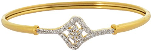 Waama Jewels Brass Cubic Zirconia Yellow Gold Bangle Handmade Bangle, Wear on...