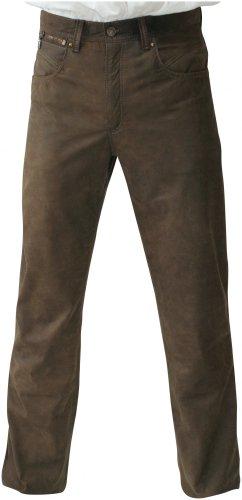 Lederhose Glattleder Trachtenhose lang Trachten Lederjeans braun Nubukleder mit Antik-Patina Trachtenlederhose im Five-pocket Schnitt mit Reißverschluß Zipp, weich und robust, auch für Biker, Größe:32 (Five-pocket-gürtel)