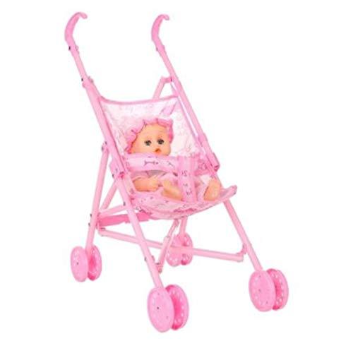 Ballylelly Bébé Infantile Poupée Poussette Chariot Pliable avec Poupée pour 12 Pouces Poupée Barbie Mini Poussette Jouets Cadeau Rose D