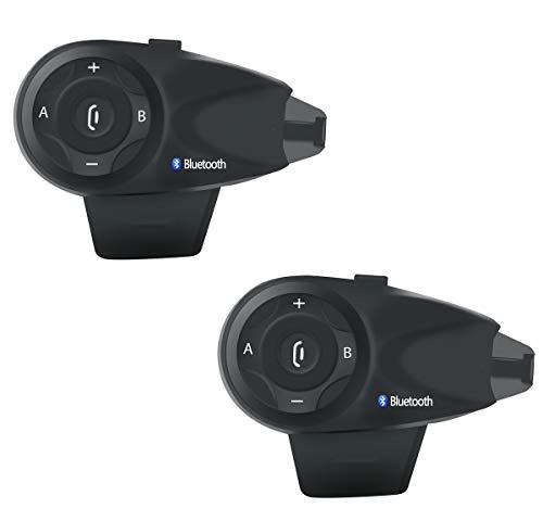 Motorrad Helm Headset Gegensprechanlage Bluetooth 3.0 Bis Zu 5 Treiber Wasserdicht Vollduplex DSP Rauschunterdrückung Automatische Anrufbeantworter Schwarz,2Pack