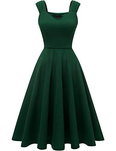 DRESSTELLS Damen 1950er Midi Rockabilly Kleid Vintage V-Ausschnitt Hochzeit Cocktailkleid Faltenrock DarkGreen M