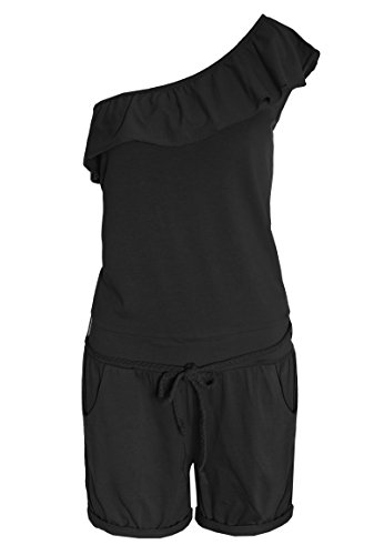 One-shoulder-jumpsuit (SUBLEVEL Damen One-Shoulder Jumpsuit | Overall | Leichter Einteiler mit Volants black XS)