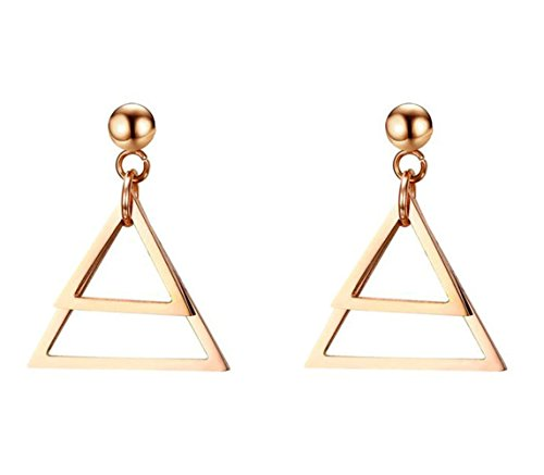 Onefeart Acero Inoxidable Aretes Mujeres Hueco Doble Triangular Studs Geométricoal High Finished 22x17MM