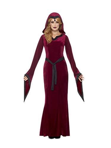 Smiffys Damen Mittelalterliche Vampirin Kostüm, Kleid mit Kapuze und Gürtel, Größe: 36-38, - Vampir Rot Kleid Kostüm