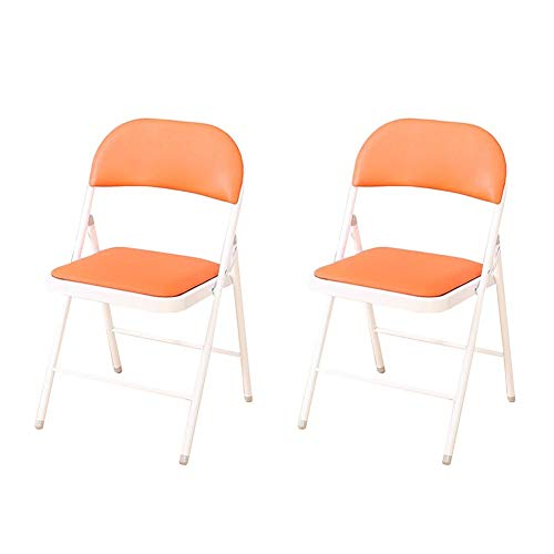 WYYY Bürostuhl Klappstühle Stahlrahmen Sitz Gepolstert Büro Rezeption Schreibtischstühle Einfache Lagerung Rückenlehne Stuhl Pack-2 Durable stark (Color : Orange) - 2 Sitz Sofa Rezeption