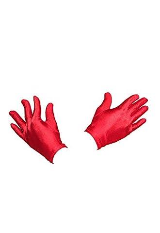Kurze Abend Karneval Fasching Kostüm Handschuhe aus Satin A12714, Größe:onesize;Farbe:rot