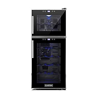 Klarstein-Reserva-21-Weinkhlschrank-mit-Doppel-Glastr-Getrnkekhlschrank-Nutzungsinhalt-56-Liter-21-Flaschen-2-separate-Khlzonen-Touch-Bedienung-LED-Anzeige-40-dB-leise-schwarz
