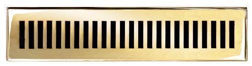 laiton Elegans 116 C Plb solide en fonte Laiton contemporain 2–1/10,2 cm par 35,6 cm Floor Register, finition laiton poli Modèle