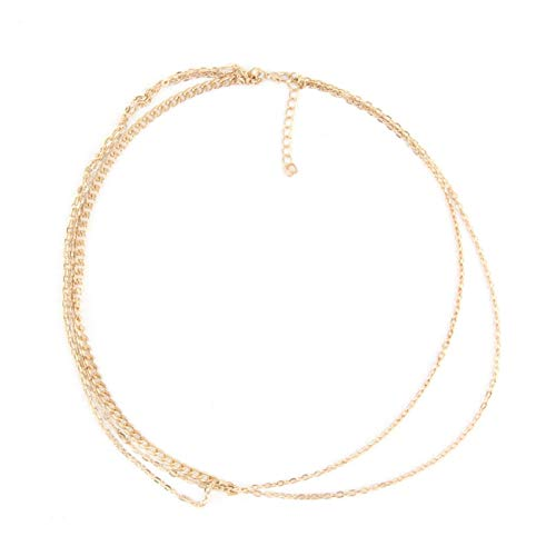 Elviray Fashion Plated Gold Head Chain Pieces Women Boho Headpiece Headband Metal Chain Hair Head Wrap Jewelry Hair Accessories Wedding