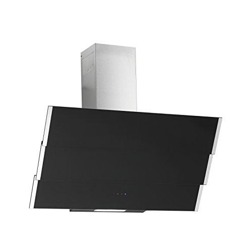 Dunstabzugshaube Kopffreihaube Naos Inox Schwarz Glas 90 cm EEK: A 850 m³/h Motor Edelstahlkamin