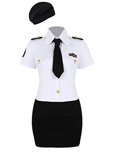 Polizei Weiß Und Schwarz Kostüm - ranrann Damen Polizistin Kostüm Polizei Uniform Hemd+Rock+Krawatte+Hut 4PC Outfit Set Cosplay Mottoparty Verkleidung Halloween Karneval Fasching Kostüm Weiß Schwarz Medium