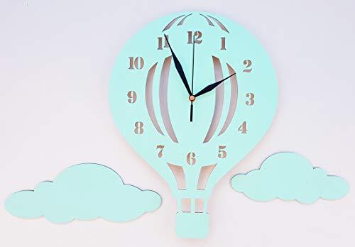 BABEES Kinder Wanduhr Ballon mit Wolken, Uhr ohne Tickgeräusche, Kinderuhr Heißluftballon für Kinderzimmer, Lautlos Uhrwerk, Wanddeko Scandi Deko Junge Mädchen mint grün