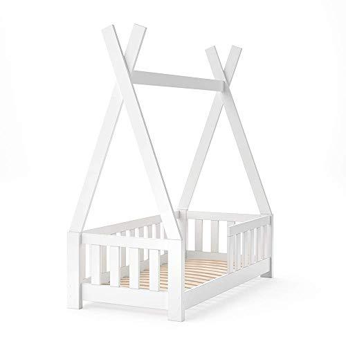 VitaliSpa Kinderbett Tipi Indianer Bett Kinderhaus Zelt Holz Hausbett 70x140cm Weiß++++ MASSIVHOLZ +++ HOCHWERTIG ++++