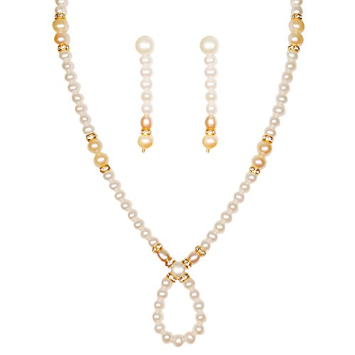 Classique Designer Silver Alloy With Gold Plated Round Pearl Necklace Set For Women(CP257)  available at amazon for Rs.229