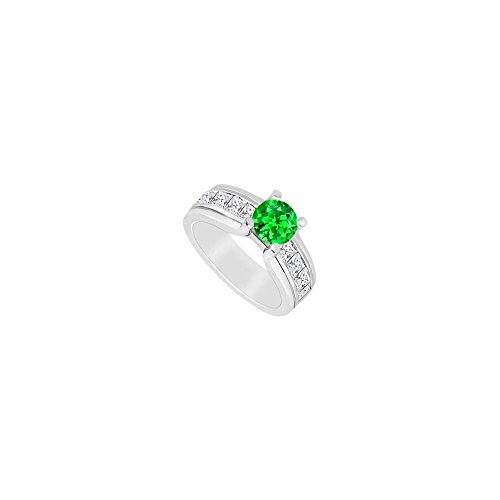 May Birthstone Created Emerald Princess Cut CZ Engagement Ring in 14K White Gold 2 CT TGW - Ring Cz Engagement 2ct