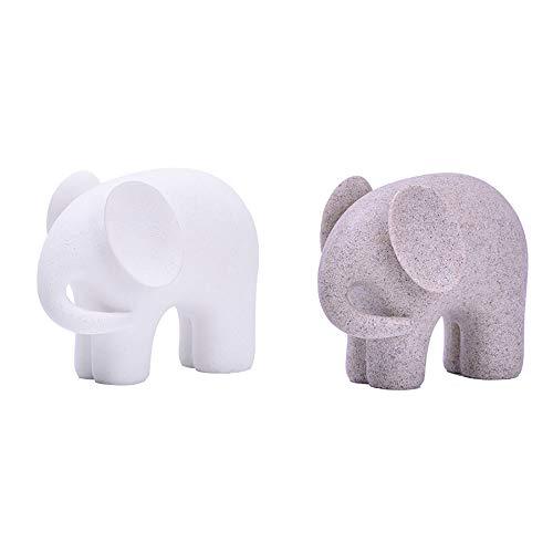 Onleus Toeak Elephant Animals Figurine Statue Sculpture - Decorative Elephant Family Statues - Ideal for Modern & Rustic Settings(5 Inch, 2 Pieces)
