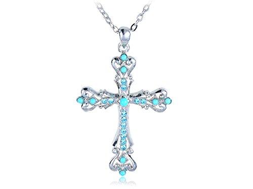 s synthetische Türkis Kristall Embedded Geschnitzte Heilig Kreuz Anhänger verbundene Ketten Halskette (Heilig-kreuz-halloween)