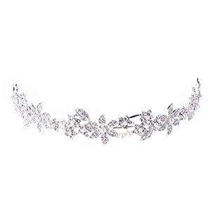 1 x Brautschmuck Hochzeit Blume Diadem Krone Kunstperlen Strass Haarband Stirnband Stirnband Bälle