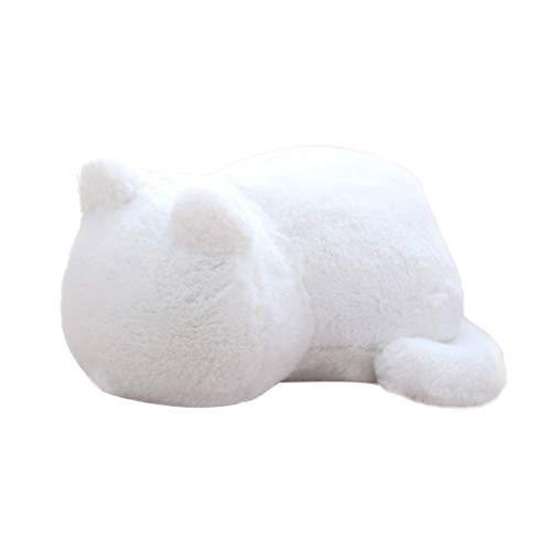 Toyvian Katze Plüschtier Nette Katze Dekokissen Gefüllte Tier Plüschtier Dekorative Weiche Kissen für Sofa Couch Bett Auto Büro Home Decor Kissen Kinder Spielzeug Geschenk (weiß) - Kissen Dekorative Auto