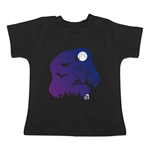 Anlässe Baby - Friedhof gruselig Totenkopf Mond - 1-3 Monate - Schwarz - BZ02 - Baby T-Shirt Kurzarm (Kürbis Kostüm Pi)