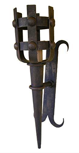 Wandleuchte Fackel aus Schmiedeeisen Medieval.
