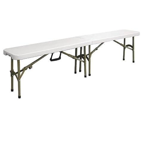 Bolero Centre Folding Bench White 6ft Steel Table Commercial 440X1829X295mm