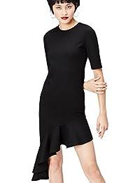 FIND Damen Kleid mit Asymmetrischem Rüschensaum