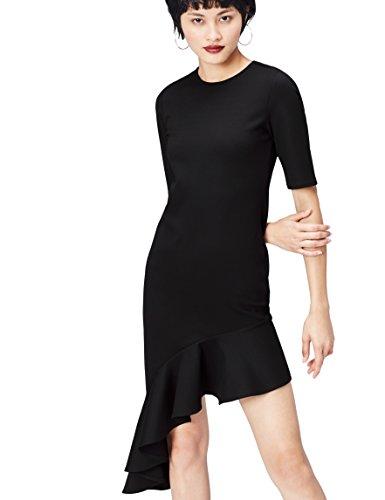 FIND Vestido con Volante en el Bajo para Mujer , Negro (Schwarz), 48 (Talla del Fabricante: XXX-Large)