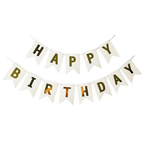Huaya glücklich Geburtstag Ammer Girlande Gold Vereitelt Banner Party Dekor (Billig Geburtstag Dekor)