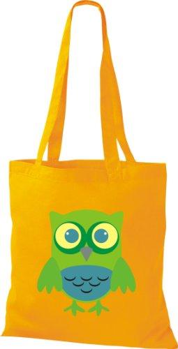 Stoffbeutel Bunte Eule niedliche Tragetasche Owl Retro diverse Farbe gelb