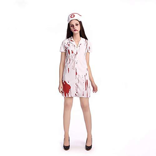 YRE Halloween Ghost Festival Horror Blutige Krankenschwester Kostüm, Lady Kostüm Prom Weibliche Krankenschwester Rolle Spielen (Ghost Lady Kostüm)